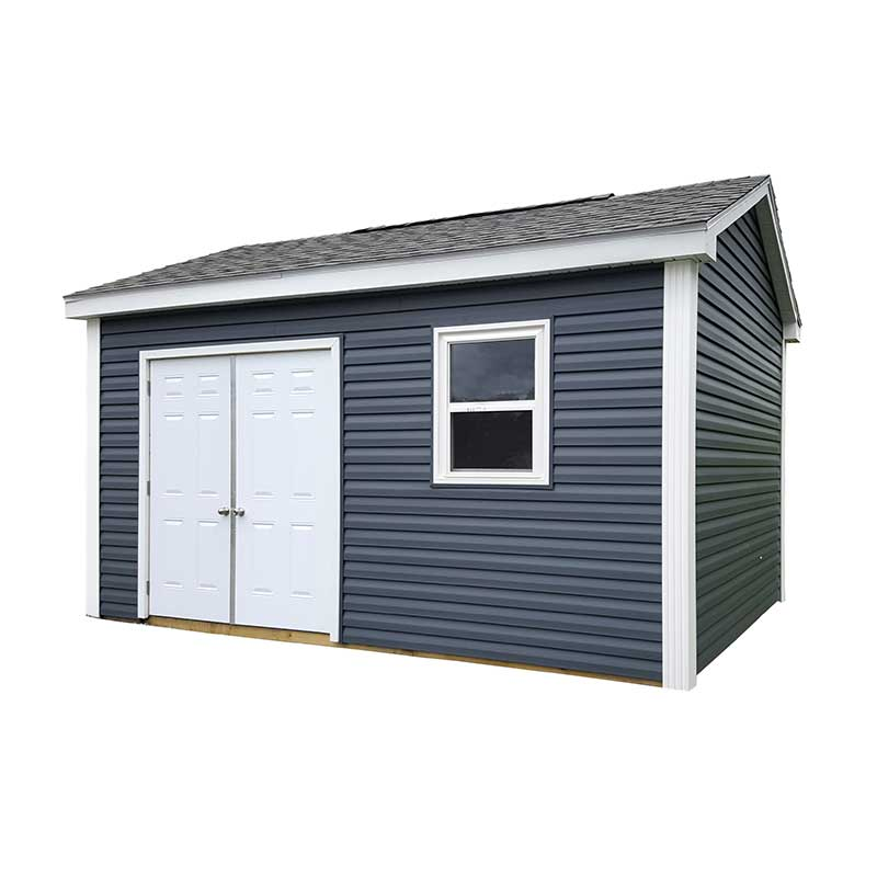 Utility shed with vinyl siding